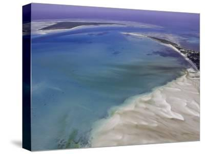 Aerial View of Water Channels on a Tidal Beach-Michael Polzia-Stretched Canvas Print