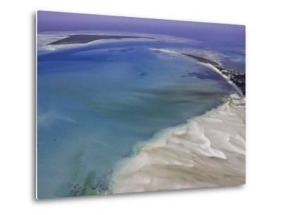 Aerial View of Water Channels on a Tidal Beach-Michael Polzia-Metal Print