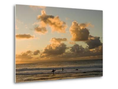 Two Surfers Enter the Pacific Ocean as the Sun Sets in Hawaii-Charles Kogod-Metal Print