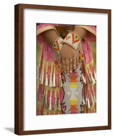 Native American Woman Dressed for the Twin Buttes Powwow-Phil Schermeister-Framed Photographic Print