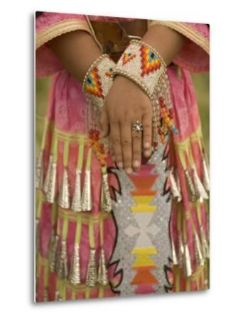 Native American Woman Dressed for the Twin Buttes Powwow-Phil Schermeister-Metal Print