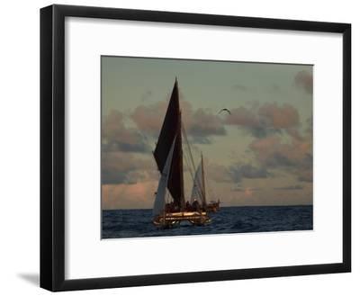 Hokule'A, a Double Hulled Canoe and a Polynesian Voyaging Canoe-Stephen Alvarez-Framed Photographic Print