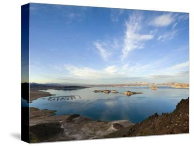 Lake Mead at Dusk with Power Lines from the Hoover Dam Power Plant-Scott Warren-Stretched Canvas Print