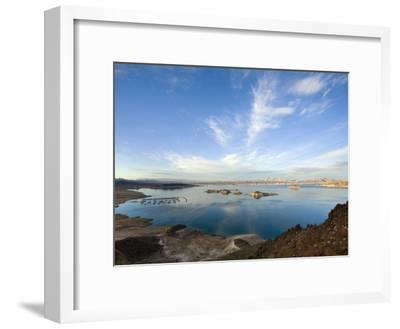 Lake Mead at Dusk with Power Lines from the Hoover Dam Power Plant-Scott Warren-Framed Photographic Print