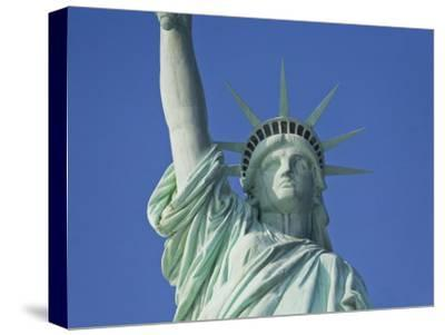 Statue of Liberty Against a Clear Blue Sky-Mike Theiss-Stretched Canvas Print