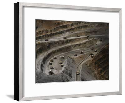 Trucks Hauling Waste Rock at Batu Hijau, a Copper and Gold Mine-Randy Olson-Framed Photographic Print