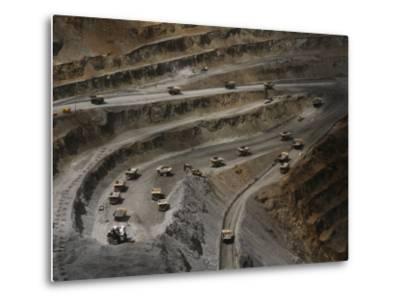 Trucks Hauling Waste Rock at Batu Hijau, a Copper and Gold Mine-Randy Olson-Metal Print