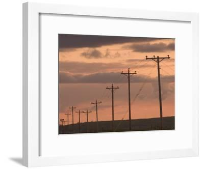 Row of Telephone Poles at Sunset in Rural North Dakota-Phil Schermeister-Framed Photographic Print
