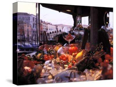 Close-up of Fruits and Wine a Glass at an Outdoor Market in Venice-Gianluca Colla-Stretched Canvas Print