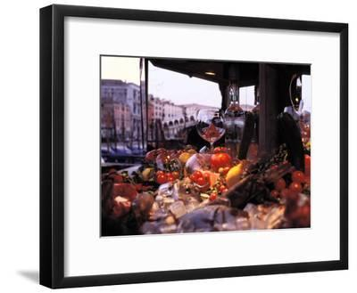 Close-up of Fruits and Wine a Glass at an Outdoor Market in Venice-Gianluca Colla-Framed Photographic Print