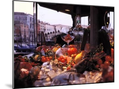 Close-up of Fruits and Wine a Glass at an Outdoor Market in Venice-Gianluca Colla-Mounted Photographic Print