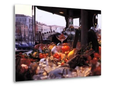 Close-up of Fruits and Wine a Glass at an Outdoor Market in Venice-Gianluca Colla-Metal Print