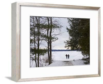 Two People Walk Out onto the Frozen Lake to Go Ice Fishing-Hannele Lahti-Framed Photographic Print