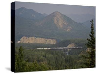 Alaska Railroad on a Tall Trestle Bridge-Michael Melford-Stretched Canvas Print