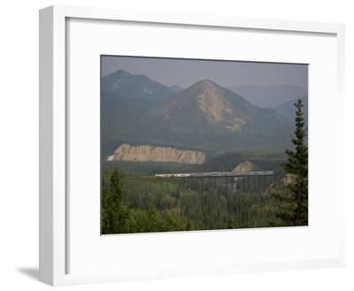 Alaska Railroad on a Tall Trestle Bridge-Michael Melford-Framed Photographic Print