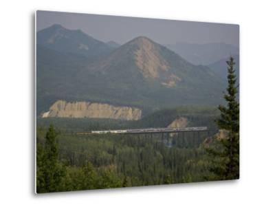 Alaska Railroad on a Tall Trestle Bridge-Michael Melford-Metal Print
