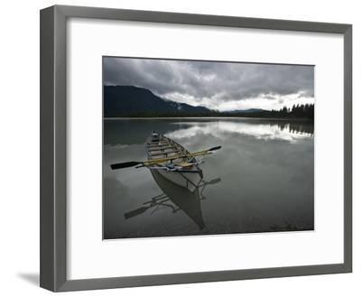 Rowboat on Glass-Like Mendenhall Lake at Dusk-Michael Melford-Framed Photographic Print