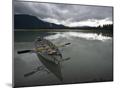 Rowboat on Glass-Like Mendenhall Lake at Dusk-Michael Melford-Mounted Photographic Print
