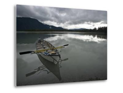 Rowboat on Glass-Like Mendenhall Lake at Dusk-Michael Melford-Metal Print