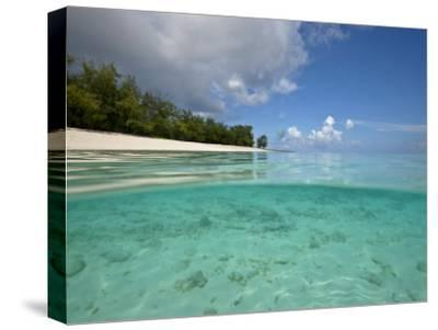 Split-Level View of Blue Water and White Sand in the Seychelles-Michael Melford-Stretched Canvas Print