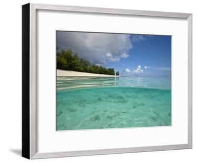Split-Level View of Blue Water and White Sand in the Seychelles-Michael Melford-Framed Photographic Print