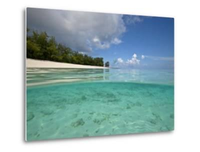 Split-Level View of Blue Water and White Sand in the Seychelles-Michael Melford-Metal Print