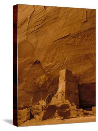 Pueblo Indian Antelope House Ruins at the Base of a Cliff-Ralph Lee Hopkins-Stretched Canvas Print