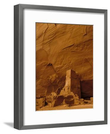 Pueblo Indian Antelope House Ruins at the Base of a Cliff-Ralph Lee Hopkins-Framed Photographic Print