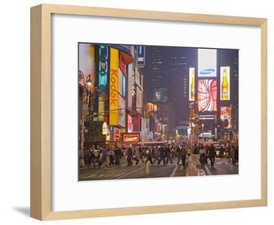 Busy Night with Lots of People in Times Square, New York City-Mike Theiss-Framed Photographic Print