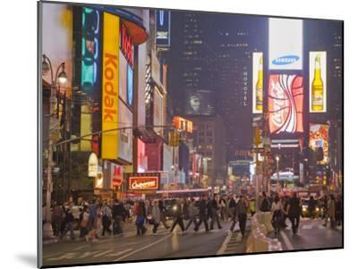 Busy Night with Lots of People in Times Square, New York City-Mike Theiss-Mounted Photographic Print