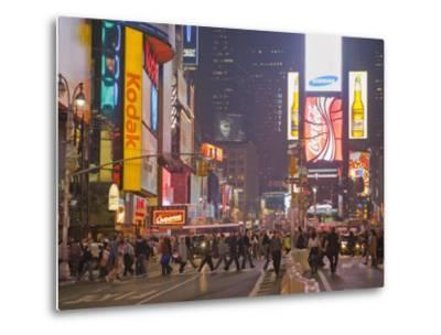 Busy Night with Lots of People in Times Square, New York City-Mike Theiss-Metal Print
