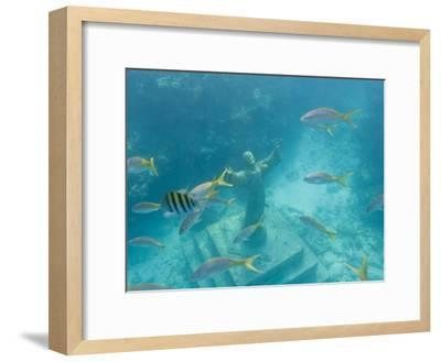 Christ of the Deep Statue in a Coral Reef State Park in the Keys-Mike Theiss-Framed Photographic Print