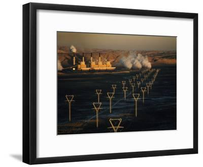 Coal-Fired Electric Plant and High Voltage Transmission Lines-Paul Chesley-Framed Photographic Print