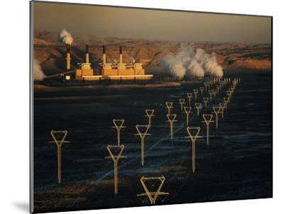Coal-Fired Electric Plant and High Voltage Transmission Lines-Paul Chesley-Mounted Photographic Print
