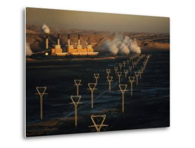 Coal-Fired Electric Plant and High Voltage Transmission Lines-Paul Chesley-Metal Print