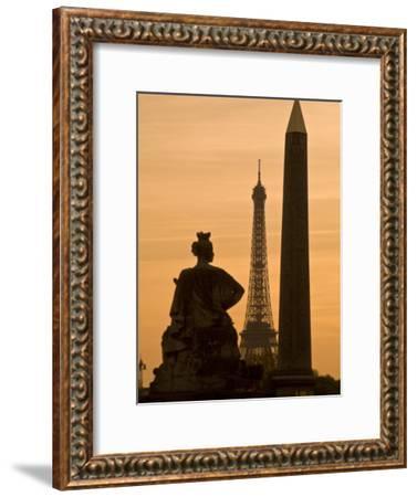 Obelisk of Luxor, Eiffel Tower and Statue De Strasbourg at Dusk-Richard Nowitz-Framed Photographic Print