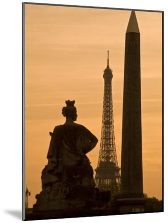 Obelisk of Luxor, Eiffel Tower and Statue De Strasbourg at Dusk-Richard Nowitz-Mounted Photographic Print