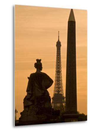 Obelisk of Luxor, Eiffel Tower and Statue De Strasbourg at Dusk-Richard Nowitz-Metal Print