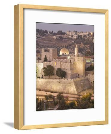 Dome of the Rock with Tower of David Museum, at Jaffe Gate in Jerusalem's Old City-Richard Nowitz-Framed Photographic Print