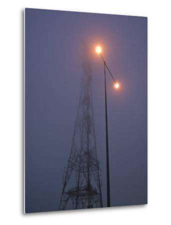 Electricity Tower and Freeway Lighting Emerge from Heavy Fog-Jason Edwards-Metal Print