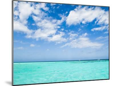 Cloud-Filled Sky and Clear Blue Waters of Ambergris Cay-James Forte-Mounted Photographic Print