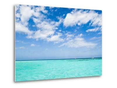 Cloud-Filled Sky and Clear Blue Waters of Ambergris Cay-James Forte-Metal Print