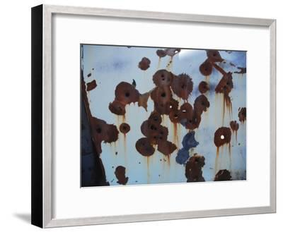 Bullet Holes in an Old Abandoned Car in Death Valley, Ca-Raymond Gehman-Framed Photographic Print