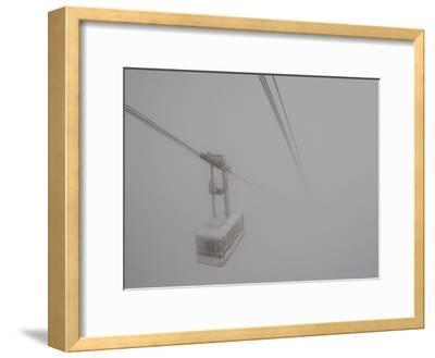 Cable Car Disappears into the Clouds Below Aiguille Du Midi-Melissa Farlow-Framed Photographic Print