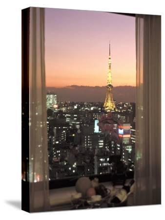 Night View of Tokyo Tower from Another Building-Richard Nowitz-Stretched Canvas Print