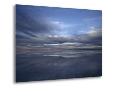 Fading Sunset Reflects Off the Still Surface of a Flooded Salt Lake-Jason Edwards-Metal Print