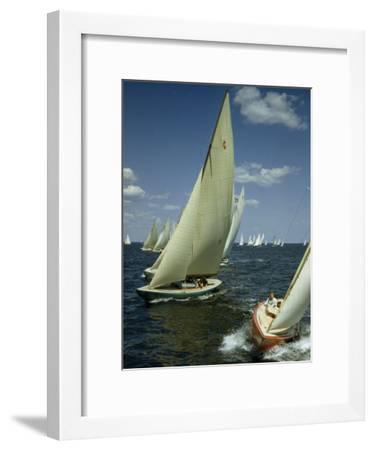 Sailboats Cross a Starting Line During a Regatta-B^ Anthony Stewart-Framed Photographic Print