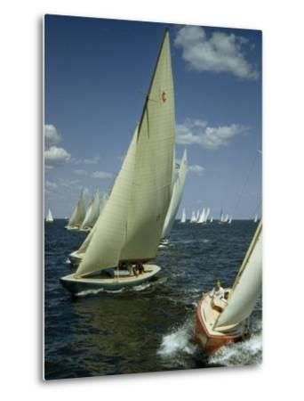 Sailboats Cross a Starting Line During a Regatta-B^ Anthony Stewart-Metal Print