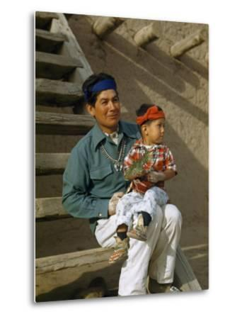 Native American Father and Son Dressed for a Dance Sit Together-Justin Locke-Metal Print