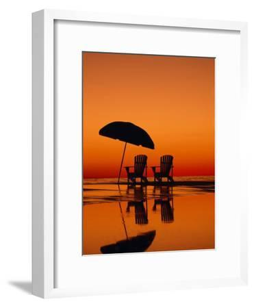 Picturesque Scene with Two Chairs and an Umbrella on the Beach-Michael Melford-Framed Photographic Print